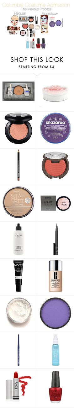 """""""Columbia Costume Admission: The Makeup Process"""" by emmasart ❤ liked on Polyvore featuring beauty, NYX, Rimmel, MAC Cosmetics, NARS Cosmetics, Clinique, Mehron, FACE Stockholm and OPI"""