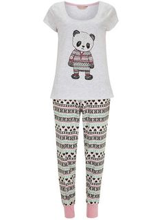Cream Panda Legging Pyjama Set :: *gasp!* Somebody wanna gift me these?? Theres an eternal friend forever in it for ya! ;D