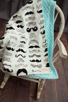 Minky+Blanket++Minky+Baby+Blanket++Premium+Mustache+by+KozyKittos