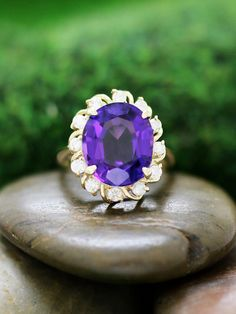 Amethyst and Diamond Cocktail Prong Solid 14K by stonesandgold.  Breath taking.  Extremely beautiful in other pics.  $1,160.40