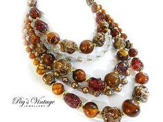 Beautiful Vintage Multi 5 Strand Bead Necklace//Choker Amber Gold, Tan, Champagne Beads Filigree Gold Tone