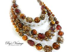 Beautiful Vintage Multi 5 Strand Bead Necklace//Choker Amber Gold, Tan, Champagne Beads Filigree Gold Tone