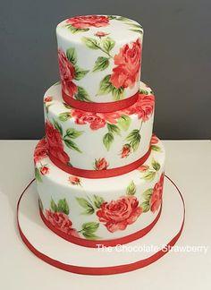 Red Rose painted wedding cake
