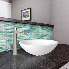 The VIGO Flat Edged White Phoenix Stone Glass Vessel Sink and Linus Faucet Set in Brushed Nickel Finish creates the perfect match for your bathroom.