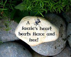 Fairy Faerie Garden Stone. Fairy Folklore. Nature Spirit. Midsummer. Words Sayings. Home Decor