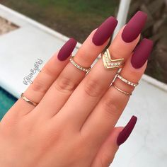Matte Nails in Trendy Colors of Fall/Winter 2017-2018 ★ See more: https://naildesignsjournal.com/matte-nails-art-trendy-colors/ #nails