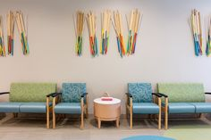 Colorful seating and wall decor are the focal point of the pediatric waiting area at WellStar Vinings Health Park. Holistic Wellness, Health And Wellness, Health Care, Waiting Area, Pediatrics, Colorful Decor, Wall Decor, Park, Design