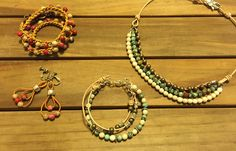 leather beads necklace, bracelets & earings