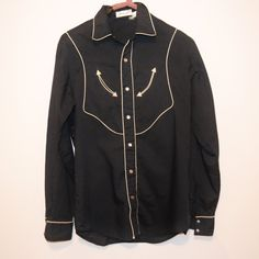 Vintage Man in Black J. Riggings Shirt by CheekyVintageCloset on Etsy Vintage Man, Western Shirts, Vintage Shirts, Black Cotton, Rockabilly, Black Men, Nike Jacket, Female, Jackets
