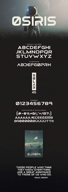 Osiris is a retrofuturistic font with alternate letters. It includes uppercase multilingual letters, numbers and punctuation. The font features both sharp edges and rounded corners and was inspired a bit by the NASA font. Book Cover Design, Book Design, Web Design, Graphic Design, Great Fonts, Cool Fonts, Typography Fonts, Typography Design, Sci Fi Fonts