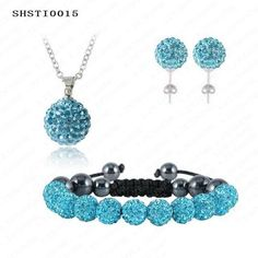 Shamballa Earrings And Necklace Sets With Disco Balls