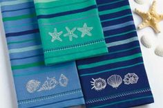 Amazon.com - Blue Sea Nautical Shells Embroidered Kitchen Towels, Set of 3 -