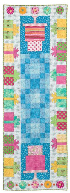 Party Time table runner is both pieced and appliquéd.