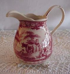 """Red Toile Transferware Footed Pitcher 7 """" Tall w Cattle 