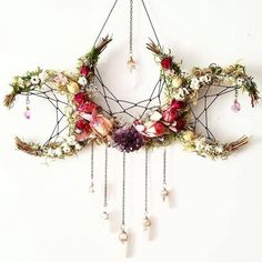 Pagan crafts - Flower crystal crescent moon dream catcher inspired hanging decoration > boho nature decor for the home Boho Dekor, Witch Decor, Pagan Decor, Spiritual Decor, Pagan Altar, Witch Craft, Arts And Crafts, Diy Crafts, Moon Crafts