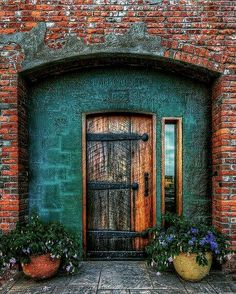 Front Door Paint Colors, Painted Front Doors, Teal Door, October 23, House Entrance, Exterior House Colors, Interior Barn Doors, House Ideas, Houses