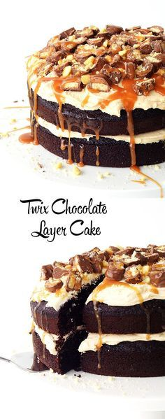 A delicious chocolate layer cake that will delight any Twix lover. Complete with caramel frosting, Twix bars, shortbread cookies and salted caramel sauce!