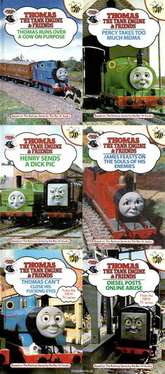 Thomas The Tank Engine is a beloved children's franchise, so it makes perfect sense that these rejected books never made it into shops and the hands of kids. Avengers Humor, Funny As Hell, The Funny, 1990s Kids, Thomas The Tank, Old Video, Japanese Books, Friend Memes, Kids Tv