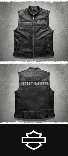 Rugged, vintage leather that gets better with age. Flip to the back for a good look at the excellent craftsmanship. | Harley-Davidson Men's Passing Link Leather Vest