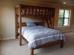 Rustic Barnwood Texas Bunk Bed - Twin over Queen - Rustic Perpendicular Designer Full Loft with Queen Bunk Beds