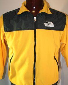 The North Face Mens Zipper Fleece Gore-Tex Jacket Small Coat Yellow Black