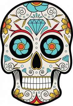 Mexican Sugar Skull Self Adhesive Vinyl Sticker – Tattoo - Malvorlagen Mandala Mexican Skull Tattoos, Sugar Skull Tattoos, Sugar Skull Art, Mexican Skulls, Mexican Art, Sugar Skulls, Mexico Day Of The Dead, Day Of The Dead Skull, Mascaras Halloween