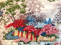 VTG 50's Fabric Pictorial Garden Park Scene Floral Cotton Retro Curtain Remnant | eBay
