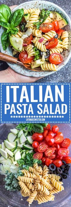 This Easy Italian Pasta is the perfect side dish for summer barbecues, potlucks, parties and cookouts. Best of all, you can customize the add-ins with what you have on hand. This recipe includes cherry tomatoes, zucchini, olives, feta cheese, onions, chopped kale and some fresh herbs like parsley and basil. The delicious zesty homemade Italian dressing makes this amazing pasta salad shine!