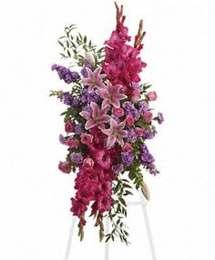 Order Touching Tribute Spray - from Oneida floral & Gifts, your local Oneida florist. For fresh and fast flower delivery throughout Oneida, NY area. Church Flowers, Funeral Flowers, Wedding Flowers, Send Flowers, Funeral Floral Arrangements, Large Flower Arrangements, Casket Flowers, Funeral Sprays, Corona Floral