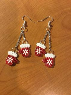 Unique Boho Dangle Mittens with Snowflake Beaded Art Seed Bead Earrings / Lightweight / Beadwork / Beaded Jewelry / Christmas / Bohemian . Beaded Christmas Ornaments, Christmas Earrings, Seed Bead Jewelry, Seed Bead Earrings, Dangle Earrings, Seed Beads, Beaded Earrings Patterns, Beading Patterns, Bead Crafts