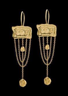Gold Vintage Style Earrings Beautiful 22k Solid by GoldArtJewelry, $1120.00