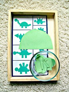 Montesori-inspired dinosaur learning activities and free printables for kids.