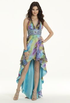 Short Dresses - Chiffon Watercolor High to Low Prom Dress from Camille La Vie and Group USA