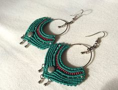 handmade macrame earrings, bohemian jewelry, boho earrings, green earring, hippie earring, bohemian earring, tribal earring, gift for her