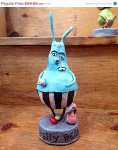 Winter Sale Klopp OOAK Easter Bunny Clay Sculpture Blue Rabbit Primitive Folk Art Freak  Pink Poodle EMO