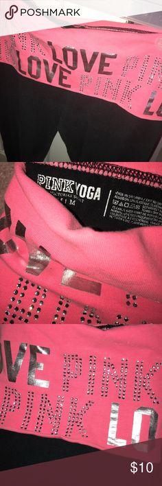 Victoria's Secret PINK Yoga Leggings Bling PINK Leggings Fold over Waistband Black Leggings, PINK fold over waistband PINK Victoria's Secret Pants Leggings