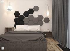 Mieszkanie heksagon od take design Master Bedroom Interior, Modern Bedroom Design, Contemporary Bedroom, Bed Design, Bedroom Furniture, Bedroom Decor, Master Bedrooms, Black Furniture, Headboard Designs