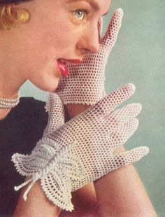1951 Bridal Butterfly Gloves Vintage Crochet Pattern by annalaia, $3.75