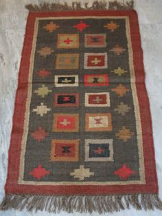 2.5x4Ft Hand woven Turkish Anatolian Kilim Carpet Area Rug Floor Mar Home Decor  #Turkish