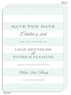 Mint Broad Stripes Save the Date Announcements
