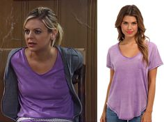 I'm a Soap Fan: Maxie Jones's Purple V-neck Tee - General Hospital, Season 52, Episode 102, 08/25/14 #GH #GeneralHospital #FreePeople