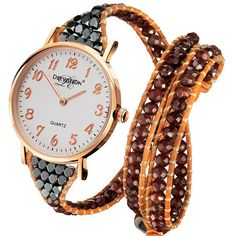 Go Wild - Triple Wrap - Women´s Watch | Go Wild signals the sophisticated style that enhances your wild side in a subtle and tasteful way. The Womens Watch for ladies with fervor! Available in Triple Wrap with a series of brown shimmering pearls wrapped twice around the wrist. Go Wild is comfortable to wear. All Deewatch ladies' watches are toxin-free and nickel-free.  Size: 35 mm Thickness: 6 mm Case color: Roségold / Silver Dial color: White Eggshell