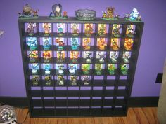My son's dream shelf for his Skylanders. Now, if only I knew how to do woodworking :-(