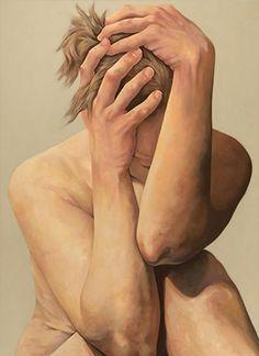 """Sinking"" - Daryl Zang (b. 1971), oil on canvas {contemporary figurative artist female discreet nude woman painting} Despair!!  zangstudios.com"