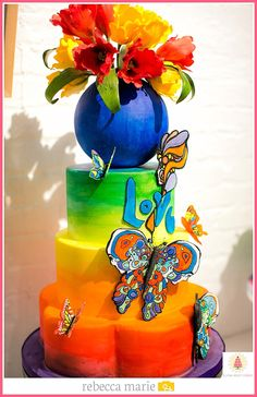 Vibrant, painted cake by Elysia Root Cakes. Photo by Rebecca Marie Photography. #cake #uniquecake #customcake #chicagobakery #chicagocakes