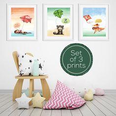 Nursery Print Set Set of Prints Nursery Wall Art Nursery Nursery Prints, Nursery Wall Art, Wall Art Prints, Watercolor Design, Watercolor Animals, Printable Wall Art, Kids Bedroom, Playroom, Kids Rugs