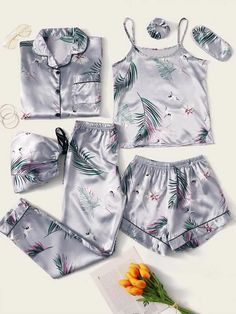 Crane & Tropical Print Satin PJ Set Check out this Crane & Tropical Print Satin PJ Set on Shein and explore more to meet your fashion needs! Cute Pajama Sets, Cute Pjs, Cute Pajamas, Pj Sets, Pajamas Women, Comfy Pajamas, Satin Pyjama Set, Satin Pajamas, Pyjamas