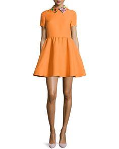 B2YXM Valentino Floral-Collar Short-Sleeve Dress, Carrot/Multi