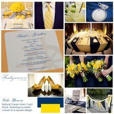 Lake Geneva wedding - yellow and navy color inspiration
