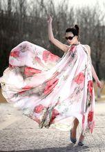 Платья мода свободного покроя новый женский леди листья лотоса большой хем цветок рукавов шифон Flouncing длинное платье макси(China (Mainland))